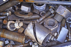 Large Nuts & Bolts Scrap Stock Image