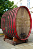 Large Oak Barrel as Wine Cellar Sign. Large old oak barrel as wine cellar sign in front of Vinag Wine Cellar in Maribor Royalty Free Stock Photography