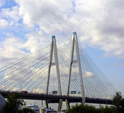Large Obukhov cable-stayed bridge across the Neva River in St. P Stock Photo