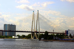 Large Obukhov cable-stayed bridge across the Neva River in St. P Stock Photography