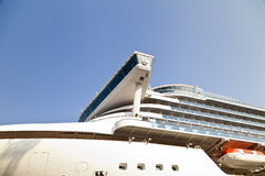 Large ocean liner. Is at the quay wall in the seaside town Royalty Free Stock Photos