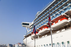 Large ocean liner. Is at the quay wall in the seaside town Royalty Free Stock Images