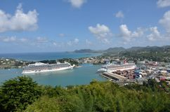 Large Ocean liners  in Capital of St Lucia Royalty Free Stock Image