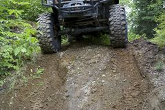 Large off road tires. Large tire on off road truck Stock Images