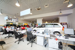 Large office of shop selling cars. Royalty Free Stock Image