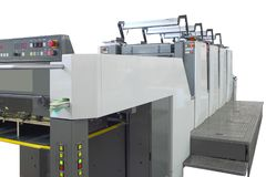 Large offset printing machine isolated on white. Clipping path included royalty free stock photo