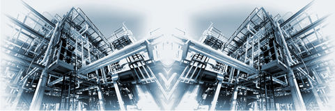 Large oil and gas refinery panoramic Royalty Free Stock Photography