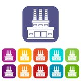 Large oil refinery icons set Royalty Free Stock Photo