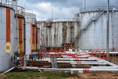 Large oil tank in industrial plant Stock Photography