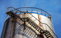 Large oil tank in industrial plant Stock Images