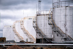 Large oil tank in industrial plant Royalty Free Stock Image