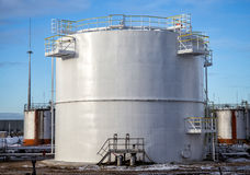 Large oil tank in industrial plant Royalty Free Stock Photography