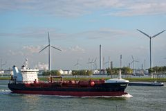 Large oil tanker in canal Royalty Free Stock Image