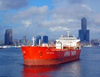 Large Oil Tanker Leaves Kaohsiung Port Royalty Free Stock Images