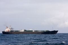 Large oil tanker in rough sea. Large ocean going oil tanker in chopy seas Stock Photos