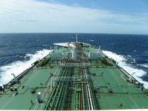 Large oil tanker at sea. View from the bridge of a large oil tanker while at sea Stock Photos
