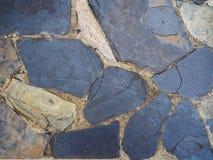 Large old blue granite stone pattern floor, shoe footprint Royalty Free Stock Photos