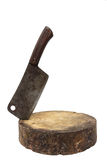 Large old chef's knife chopped on butcher and white background Royalty Free Stock Images
