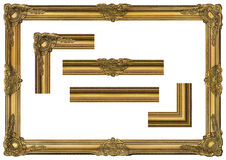 Large Old Gold Frame 001. Antique gold frame covered with a patina. Large size. Comfortable proportions Royalty Free Stock Photos