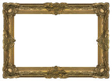 Large Old Gold Frame 002. Antique gold frame covered with a patina. Large size. Comfortable proportions Royalty Free Stock Photo