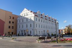 Magnificent ancient mansion in the center of Grodno stock photos