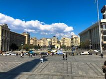 Large old vintage architectural tourist beautiful city square. Georgia, Tbilisi, April 17, 2019 royalty free stock image