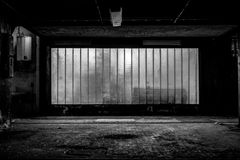 Large old window of a factory Royalty Free Stock Photo