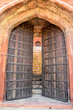 Large old wooden gate doors stock photo