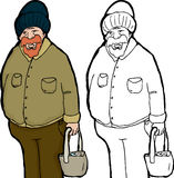 Large Older Man with Bag Royalty Free Stock Images
