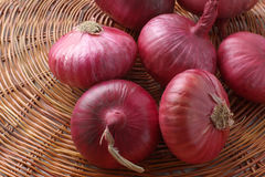 Large onion. Red large onion on wicker background Stock Images