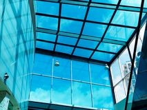 Large Blue Plate Glass Atrium Stock Image
