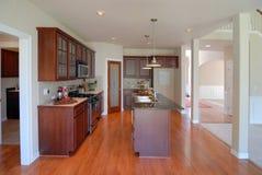 Large Open Kitchen. With Hardwood Floor Stock Photography