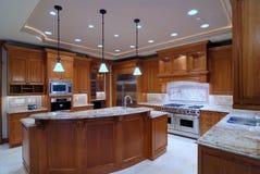 Large Open Kitchen. Luxury American Kitchen Series VI Stock Photography