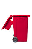 Large open lid red garbage bin Stock Images