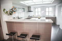 Large, open, modern kitchen. Royalty Free Stock Photos
