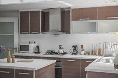 Large, open, modern kitchen. Royalty Free Stock Image