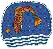 Large orange fish hunts for small fish Stock Photo