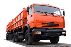 Large orange truck. A large orange heavy equipment truck with two beds Stock Images