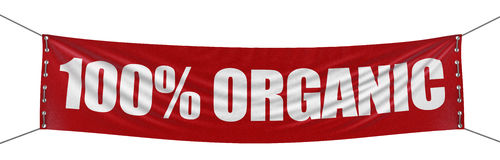 Large `100% Organic` banner with fabric surface texture. Image with clipping path Royalty Free Stock Photos