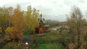 Large Orthodox church in the woods stock video