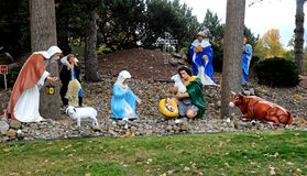 Large outdoor christmas or holiday display of nativity Stock Photo