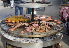 Large outdoor grill with a variety of meat Royalty Free Stock Photos