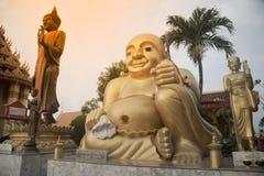 Outdoor happy Buddha on Wat Sangkas Ratanakhiri temple. Large outdoor happy Buddha on Wat Sangkas Ratanakhiri temple stock photography