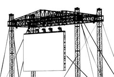 Large Outdoor Screen. An impressive metal structure supporting a blank outdoor LCD. Low angle side view. Black and white. Eps-format (illustrator 8 Stock Photo