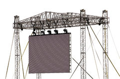 Large Outdoor Screen Isolated. An impressive metal structure supporting a a blank outdoor LCD. Isolated on white. Clipping path included Royalty Free Stock Photos