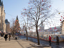 A large outdoor skating rink on Red Square Royalty Free Stock Photography