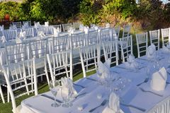 Large outdoor wedding Table Royalty Free Stock Images
