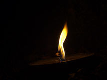 Large outoor candle on slanting surface. Light burning in the da Stock Images