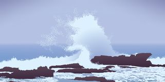 Large Pacific Ocean wave crashing into rocks Stock Image