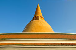The large pagoda with roof, Thailand. Royalty Free Stock Photography